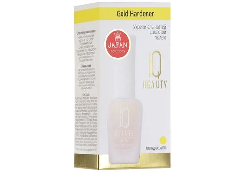 Укрепитель ногтей с золотой пылью Gold Hardener, IQ Beauty  12,5 мл, фото