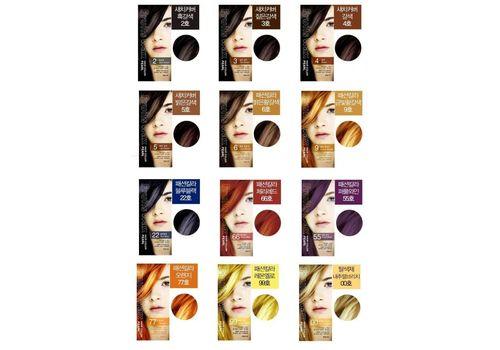 Краска для волос на фруктовой основе Fruits Wax Pearl Hair Color, оттенок 22 Blue Black, Welcos  60 мл/60 г, фото