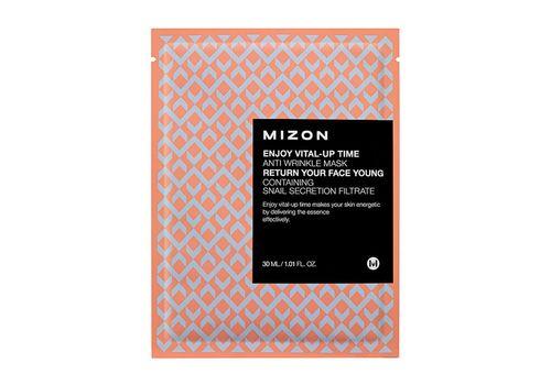 Тканевая маска для разглаживания морщин на лице Enjoy Vital Up Time Anti Wrinkle Mask, Mizon  30 мл, фото