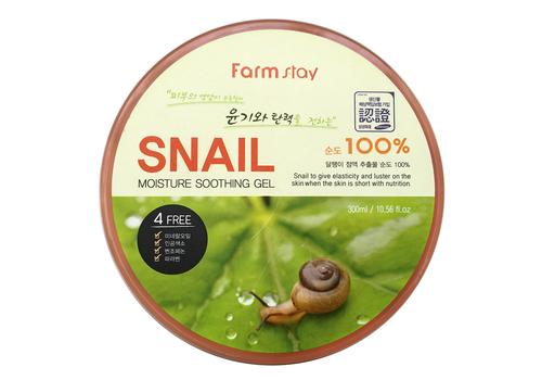 Многофункциональный смягчающий гель с экстрактом улитки Moisture Soothing Gel Snail, Farmstay  300 мл, фото
